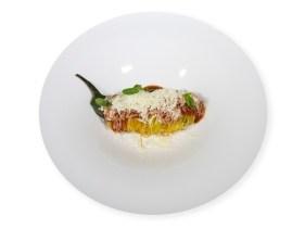 Dal Ristorante; Cannolo di melanzana, perlina in pasta croccante