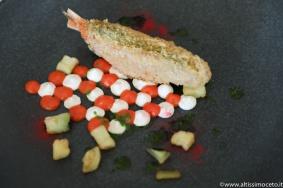 Viaggiatore Gourmet: Triglia farcita alle erbette, ricotta, melanzana e pomodorini confit